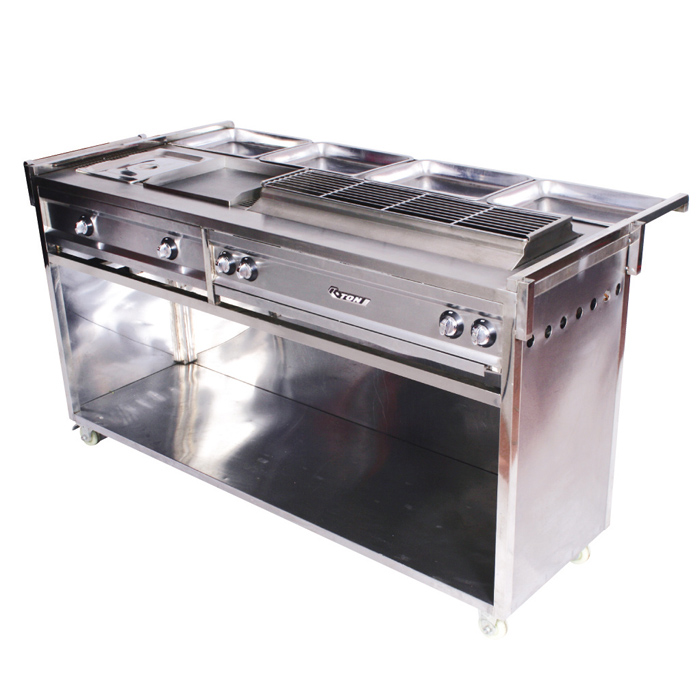 Multifunctional BBQ roaster cart